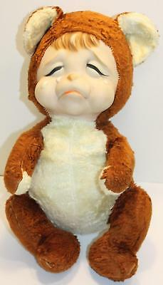"RARE VTG 1940s 14""  RUSHTON STAR CREATIONS RUBBER FACE CRYING POUTING TEDDY BEAR"