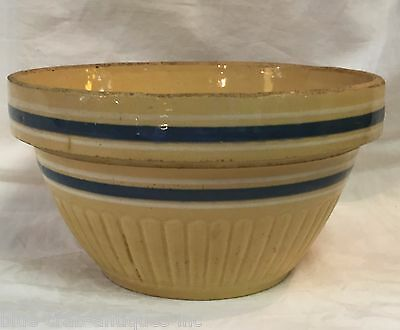 Antique 19th Century YELLOW WARE BLUE & WHITE BANDED POTTERY DOUGH MIXING BOWL