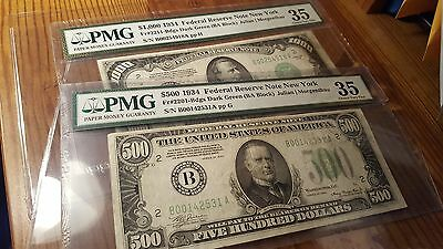 Pair 1934 $500 $1000 Dollar Bill Frn Note Five Hundred Thousand Pmg Choice Vf