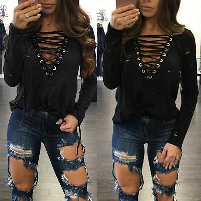 Women Fashion Blouse Summer Casual Long Sleeve Blouse Tops Casual T-shirt L QY14