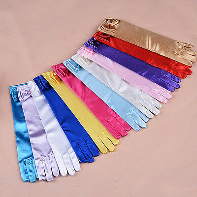 Long Satin Gloves Kids Girls  Satin Bow Sleeves Gloves Party Wedding Performance