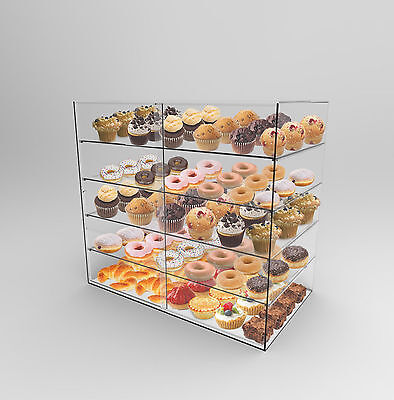 Acrylic Perspex Bakery Display Case 5 Shelf Sliding Door Donuts,Cakes,Muffins