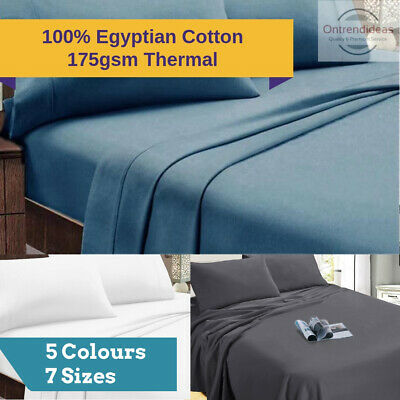 Ramesses 100% Egyptian Cotton Flannelette Sheet Set | Winter Thermal 175GSM