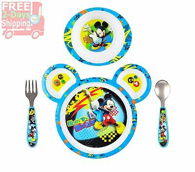 Mickey Mouse Baby Plate Set Toddler Food Tools Feeding Dishwasher Microwave Safe