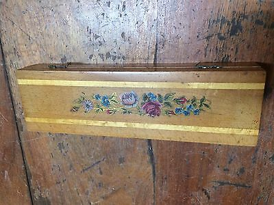 Vintage Pencil Box  c1920 with inlaid wood and rose transfer