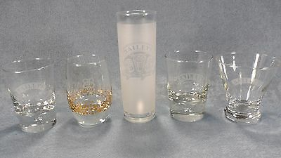 Lot of 5 Assorted Bailey's Irish Cream Cocktail Glasses