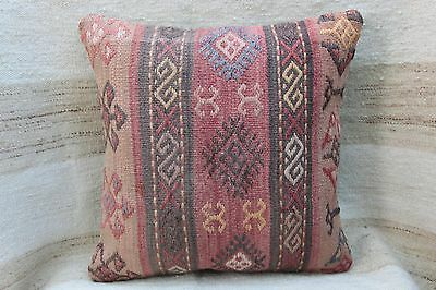 Turkish Kilim Pillow,Handmade Cushion Cover,Vintage Muted Pillow,Wool pillow