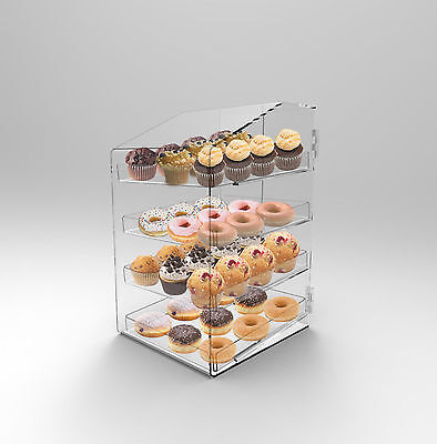 Large Acrylic Perspex Bakery Display Case 4 Tray Donuts Muffins Pastries Cafes