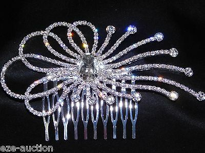 Bride Unique Bridal Hair Comb Silver With Clear Rhinestone Crystal