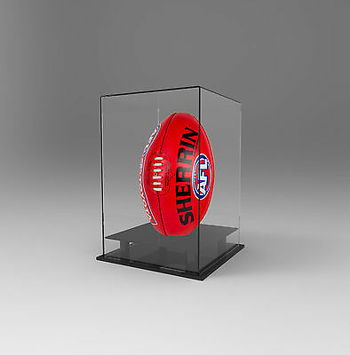 Football AFL Ball Display Case Acrylic Perspex Vertical Upright Signed Autograph