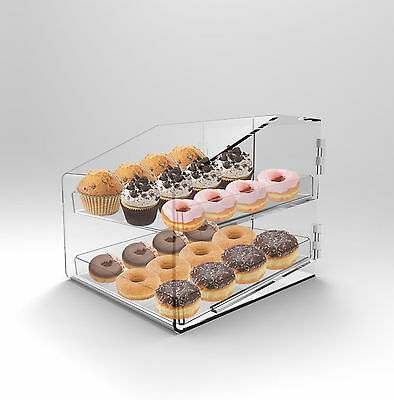 Bakery Display Case 2 Tray Acrylic Perspex Clear Muffins Cakes Donuts Cafes