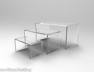 3 Piece Display Riser Set Acrylic Perspex CLEAR 4.5 mm Cake & Product Display