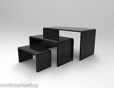 3 Piece Display Riser Set Acrylic Perspex BLACK Gloss 4.5 mm Displays or Product