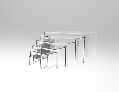 6 Piece Display Riser Stand Set Acrylic Perspex CLEAR 4.5 mm Displays Cakes Sale