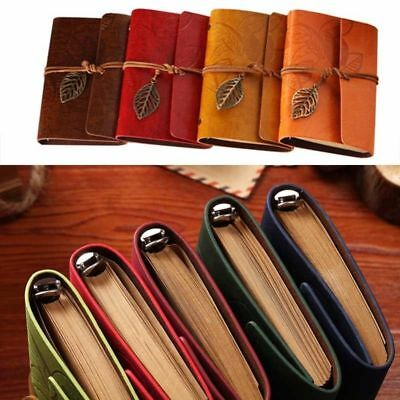 Vintage Retro Notebook Faux Leather Leaf Notepad Journal Diary Sketchbook Splend