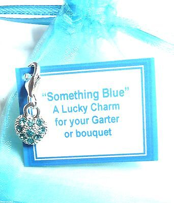 Something Blue Bridal Rhinestone Heart Good Luck Charm for Bouquet or Garter