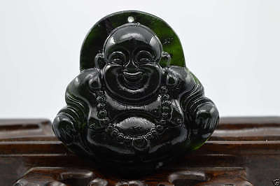 China's pure hand jade carving black jade pendant Buddha wishes@75