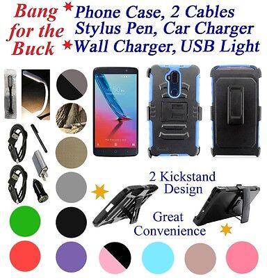 """for 6"""" ZTE Max Blue Z986DL maxblue Hybrid Clip Holster Case 2 Kick stand Cover+"""