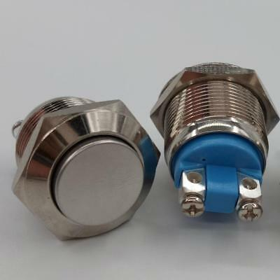 Quality Momentary Push Button Switch Nickel Plated Brass Metal 19mm