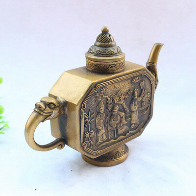 Decorated chinese old Handwork copper carven Ladies chart flagon