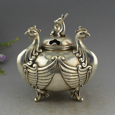 Collectible Decorated Old Handwork silver Copper Carved 3 Phoenix Incense Burner