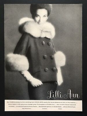 1961 Vintage Print Ad LILLI ANN Woman's Fashion Worsted Fox Hat Huge Buttons