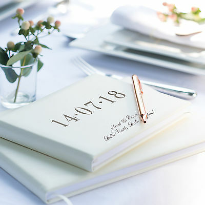 Special Date Guest Book, Ivory Leather Guest Book, Wedding, Anniversary L1B2/3