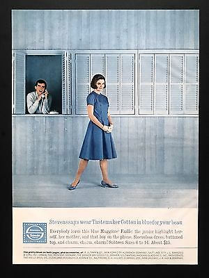 1961 Vintage Print Ad STEVENS Tastemaker Blue Fashion Chic Man On Phone Watching