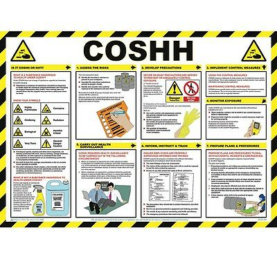 COSHH Sign Health & Safety Poster First Aid Workplace Hazardous Substances Chart