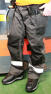 Hymac Hi Vis Heavy Duty Safety Work Trousers Multi Pocket Grey Black Cordura NEW