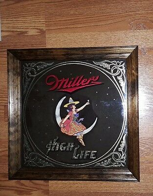 Vintage Miller Beer High Life Lady On Moon Mirror 18 X18 Never Used