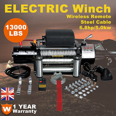 13000lbs Electric Winch 12V Heavy Duty Recovery Wireless Remote 4WD Truck