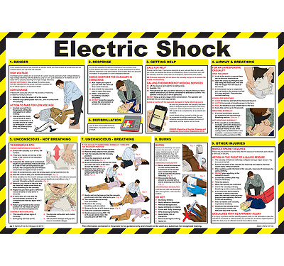Electric Shock Sign, Health & Safety Chart, Electrocution, Emergency First Aid