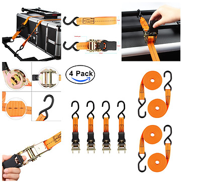 Retractable Ratchet Straps Heavy Duty Trailer Tie Down 180 Inch Hook 4 Pack Lot