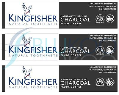 Kingfisher Charcoal Naturally Whitening Natural Toothpaste - 100ml (Pack of 3)