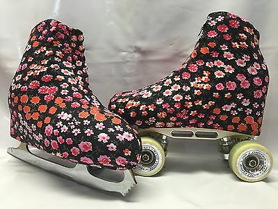 Tiny Floral Boot Covers for RollerSkates and Ice Skates  S,M,L