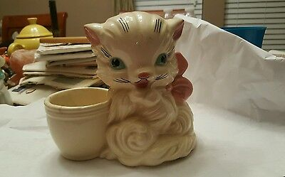 50's Large Hull Art 61 Cute Cat Planter pretty old head vase planter white cat