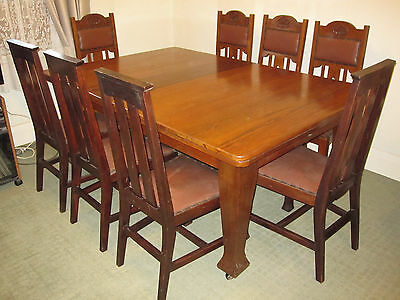 Antique Solid Extendable Dining Table and 8 Vintage Grand Chairs (room for 12)