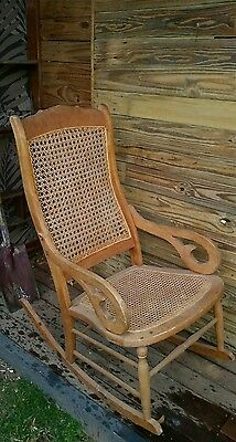 ANTIQUE VINTAGE COUNTRY  ROCKING CHAIR  Cane Woven back