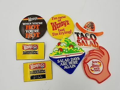 Lot Of 7 Vintage Wendy's Button Pins Restaurants Fast Food Employee Badges 80's