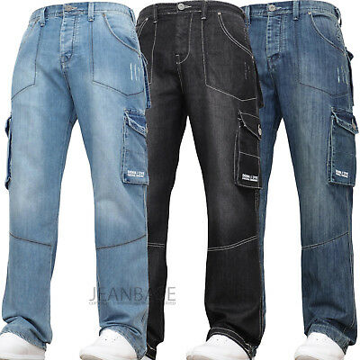 Mens Kam Combat Cargo Denim Work Tough Black Darkwash Jeans Pants Trousers Waist