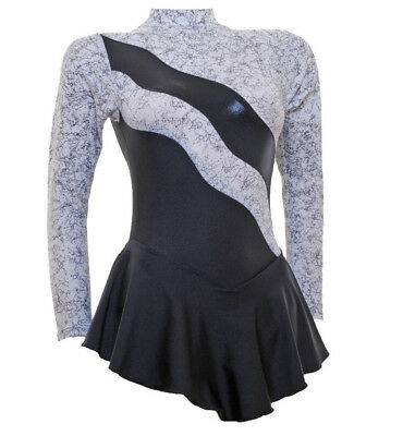 Ice / Roller Skating Dress- RIPPLE Black/White Metalic + Lycra   (S108)