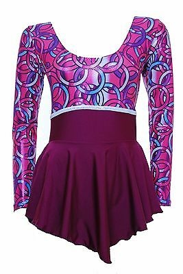 Skating Dress -Burgandy Lycra/ Multi Hologram Long Sleeves