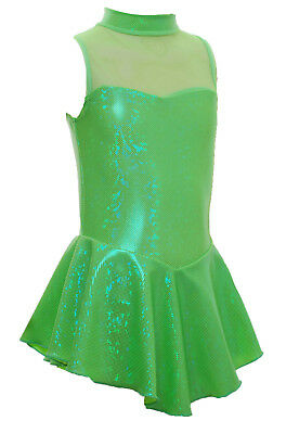 Ice Skating Dress Green Hologram/green mesh NO SLEEVES- ALL SIZES AVAILABLE SO8