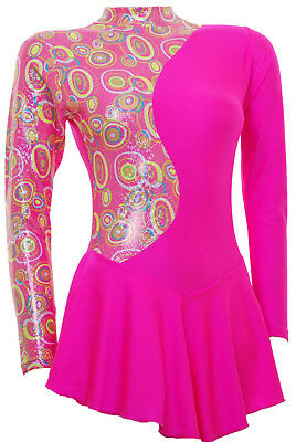 Skating Dress - PINK Multi Hologram/Toffee Pink Lycra L/S(S1000)
