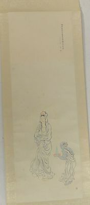 Vintage Japanese Woodblock Print SCroll of Lady and Oni Signed Inscription