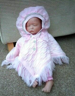 Romany Crystal Bling Baby Pink Girls Tassle Fluffy Cape Hooded Poncho