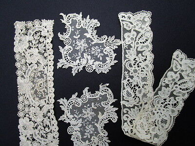 4 Pc Hand Made Antique Belgian Point de Gaze Needle Lace Collar, Cuff, Appliques