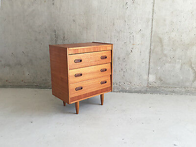 1970's mid century bedside cabinet / small chest of drawers with angled drawer f