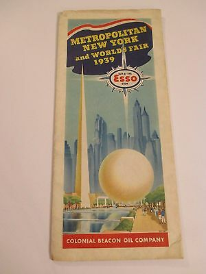 Vintage 1939 ESSO COLONIOAL BEACON OIL METRO NY & WORLD FAIR Gas Road Map